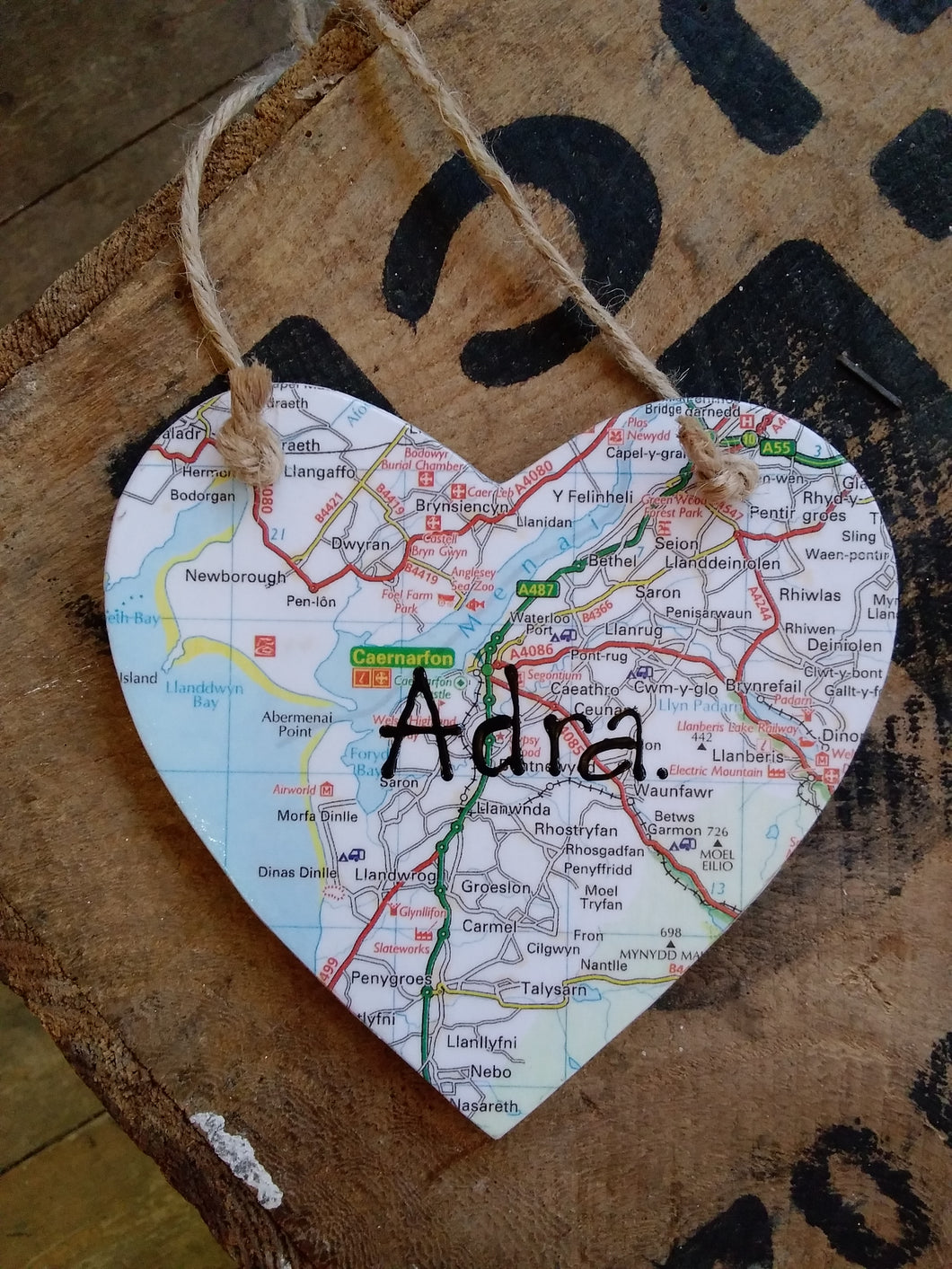 Adra Map Hanging Heart