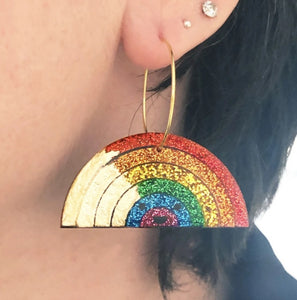 Sparkly Rainbow earrings by Jess Collinge