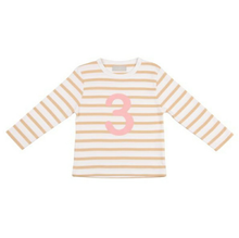 Load image into Gallery viewer, Biscuit & White Breton Striped Numbered Tops