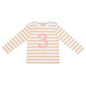 Biscuit & White Breton Striped Numbered Tops