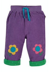 Flower knee patch cord trousers