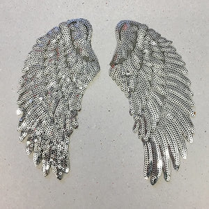 Large iron on sequin wings