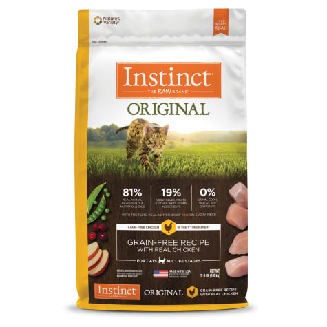 *FREE TREAT* Instinct Original Grain-Free Recipe with Real Chicken Dry Cat Food (2 Sizes 2.2lb / 5lb )
