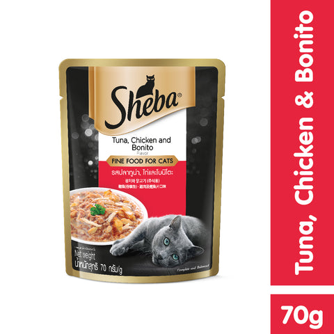 Sheba Tuna & Chicken with Bonito Flakes Pouch 70g