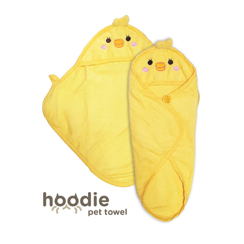 Hoodie Pet Towel - Yellow Chicky