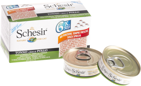 Schesir Tuna with Chicken Fillets in Cat Multipack (6 x 50g)