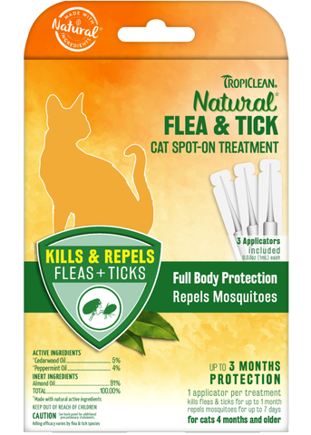 TropiClean Natural Flea & Tick Cat Spot on Treatment