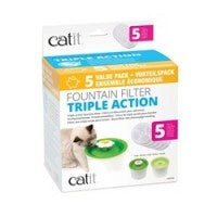 Catit Triple Action Fountain Filter - 5 pack