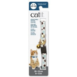 Catit Adjustable Breakaway Nylon Collar with Rivets White with Polka Dots 20-33cm