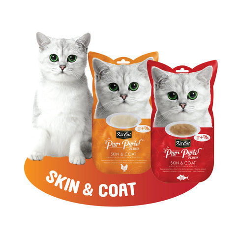 Kit Cat Purr Puree Plus+ - Skin & Coat with Fish Oil (Choice of Chicken/Tuna) 4x15g