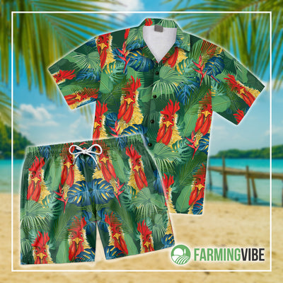Funny Chickens Tropical 2 Shirt And Short Set