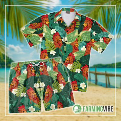 Funny Chickens Tropical 4 Shirt And Short Set