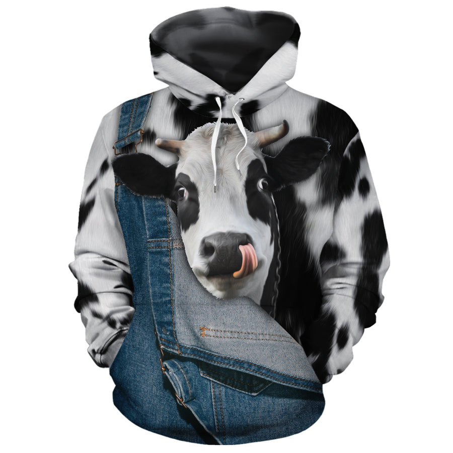 Cute Face Dairy Cow Jean Pattern All-over Hoodie