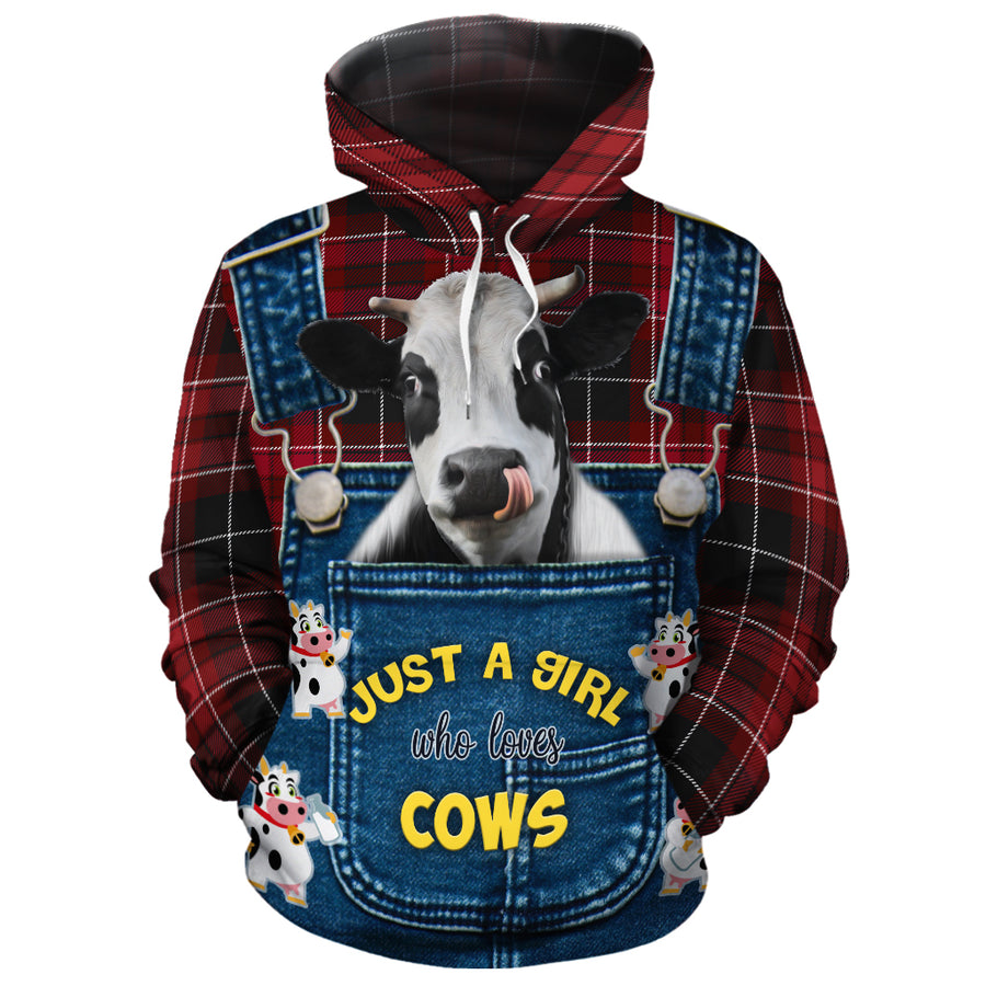 Just A Girl Who Loves Cow - Cute Face Dairy Cow All-over Hoodie