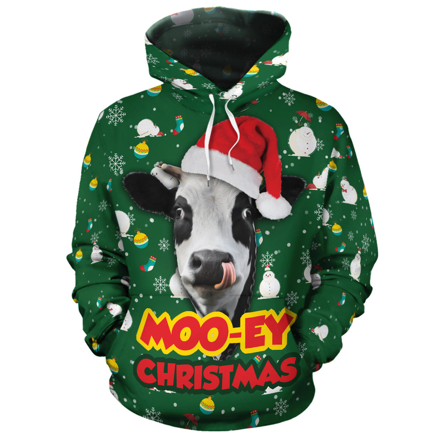 Moo-Ey Christmas Cute Dairy Cow All-over Hoodie