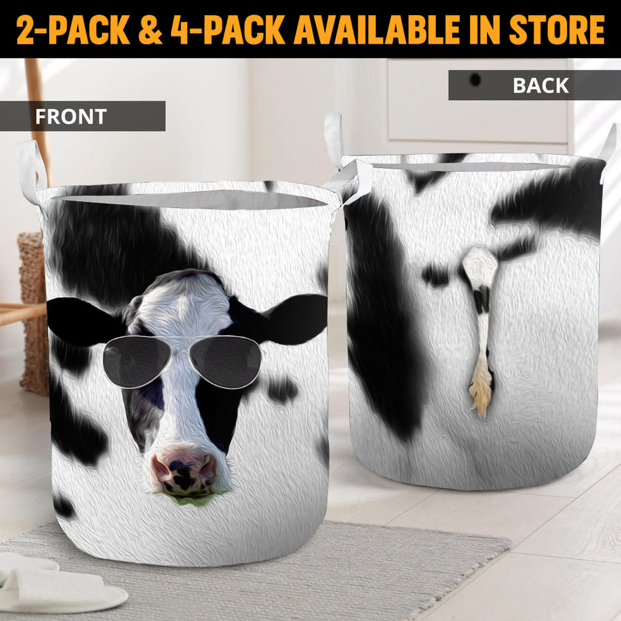 Cool Face Dairy Cow With Tail Laundry Basket