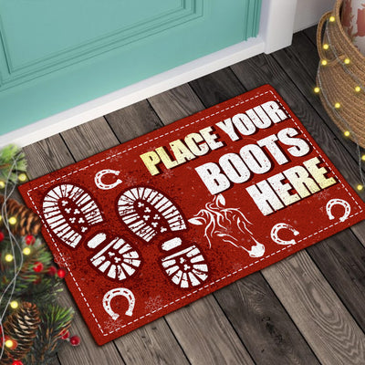 Place Your Boots Here - Horses 2 Doormat
