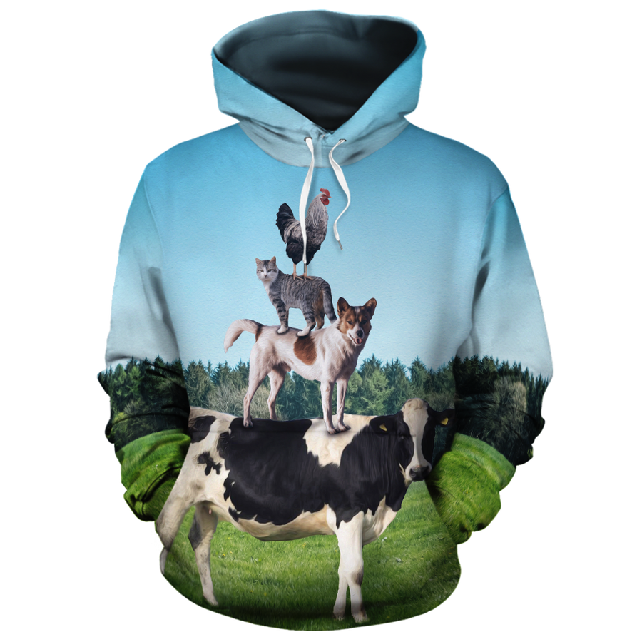 Farm Cow Dog Cat Rooster All-over Hoodie
