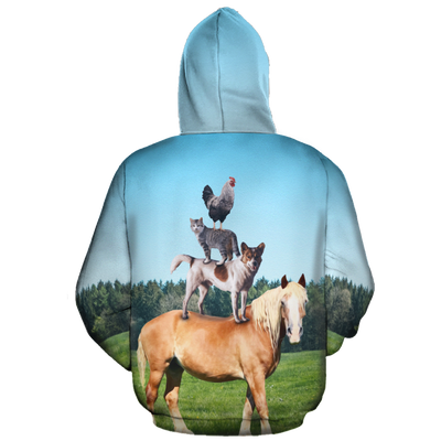 Farm Horse Dog Cat Rooster All-over Hoodie