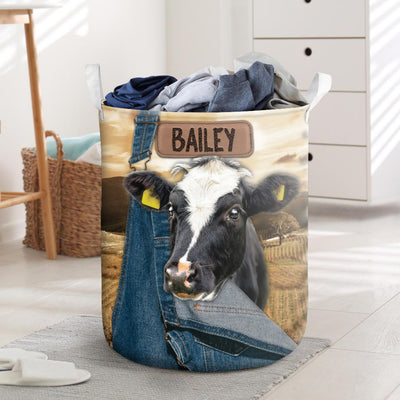 Personalized Farming Dairy Cow Laundry Basket