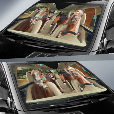 Funny Braces Teeth Horses Auto Sun Shade