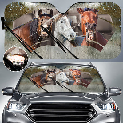 Rainy Braces Teeth Horses Auto Sun Shade