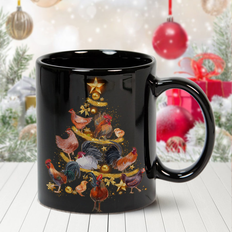 Chicken Christmas Tree 11 oz. Black Mug
