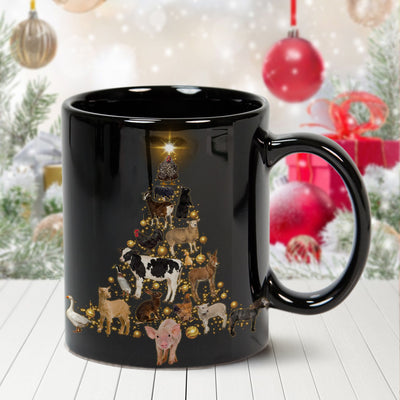 Farm Animals Christmas Tree 11 oz. Black Mug