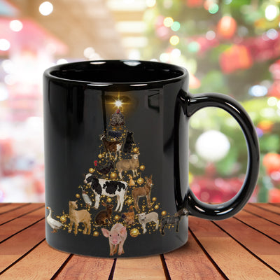 Farm Animals Christmas Tree 15 oz. Black Mug