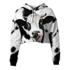 Cute Face Dairy Cow Cropped Hoodie