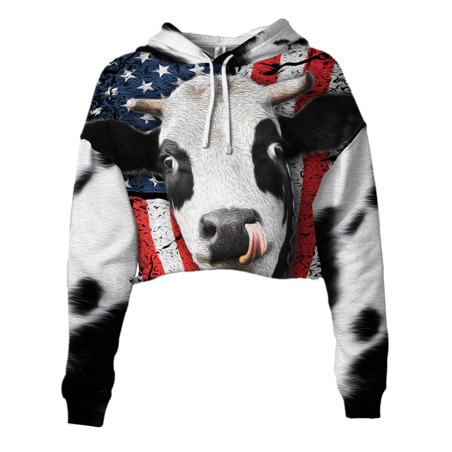 American Dairy Cow Cropped Hoodie And Leggings Set