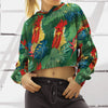 Funny Chicken Tropical 2 Cropped Hoodie