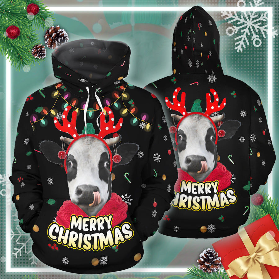 Merry Christmas Dairy Cow All-over Hoodie