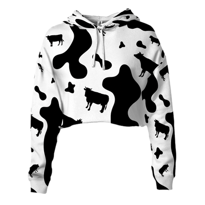 Dairy Cow All Over Cropped Hoodie