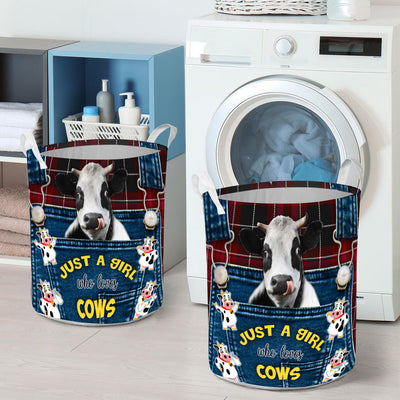 Just A Girl Who Loves Cows Laundry Basket