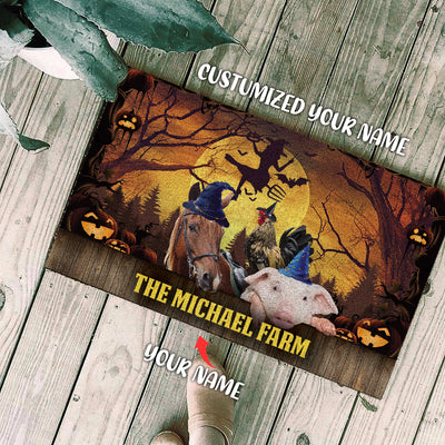 Personalized - The Halloween Farm Animals Doormat