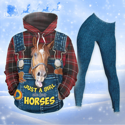 Just A Girl Who Loves Horses Jeans Pattern All-over Hoodie And Leggings Set