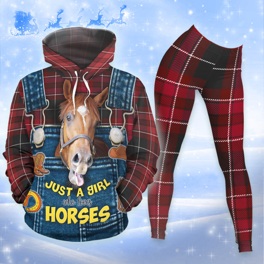 Just A Girl Who Loves Horses Red Chequer Pattern 2 All-over Hoodie And Leggings Set