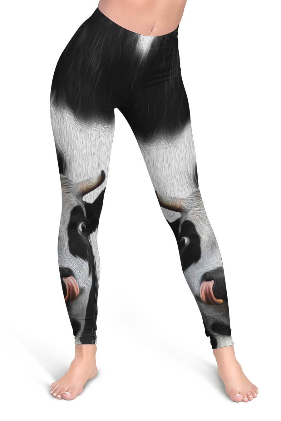 Cute Face Dairy Cow Leggings