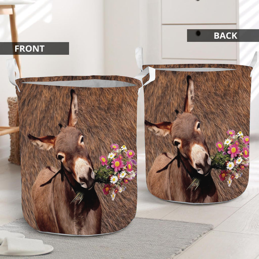 Cute Face Donkey Laundry Basket
