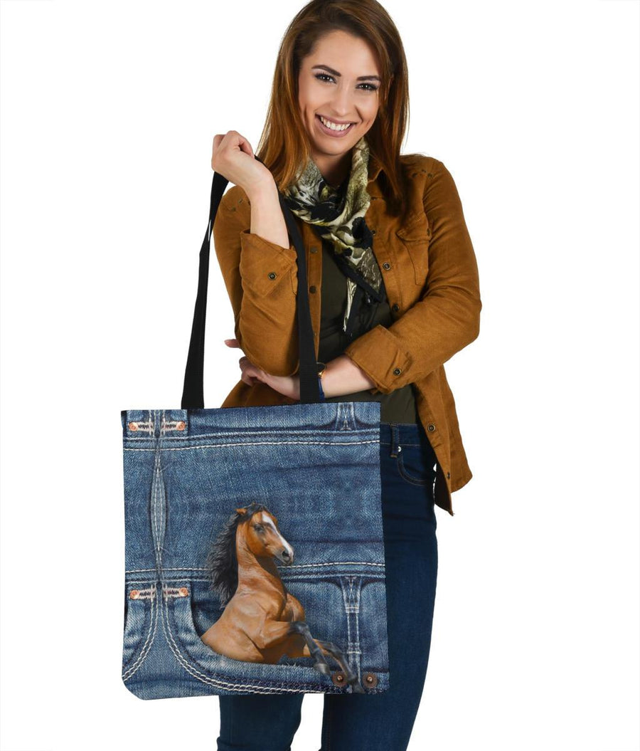 Horse Jeans Pattern Tote Bag