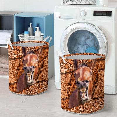 Funny Horse Leather Pattern 2 Laundry Basket