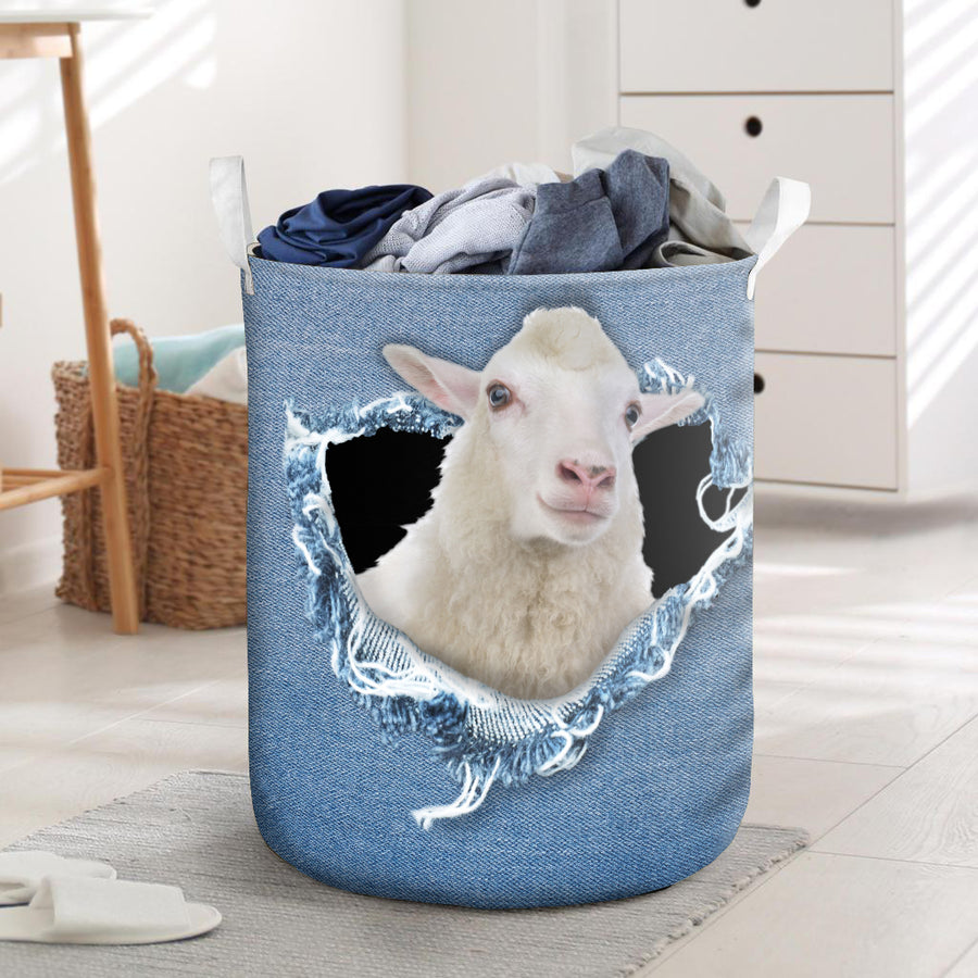 Funny Sheep Jeans Pattern Laundry Basket