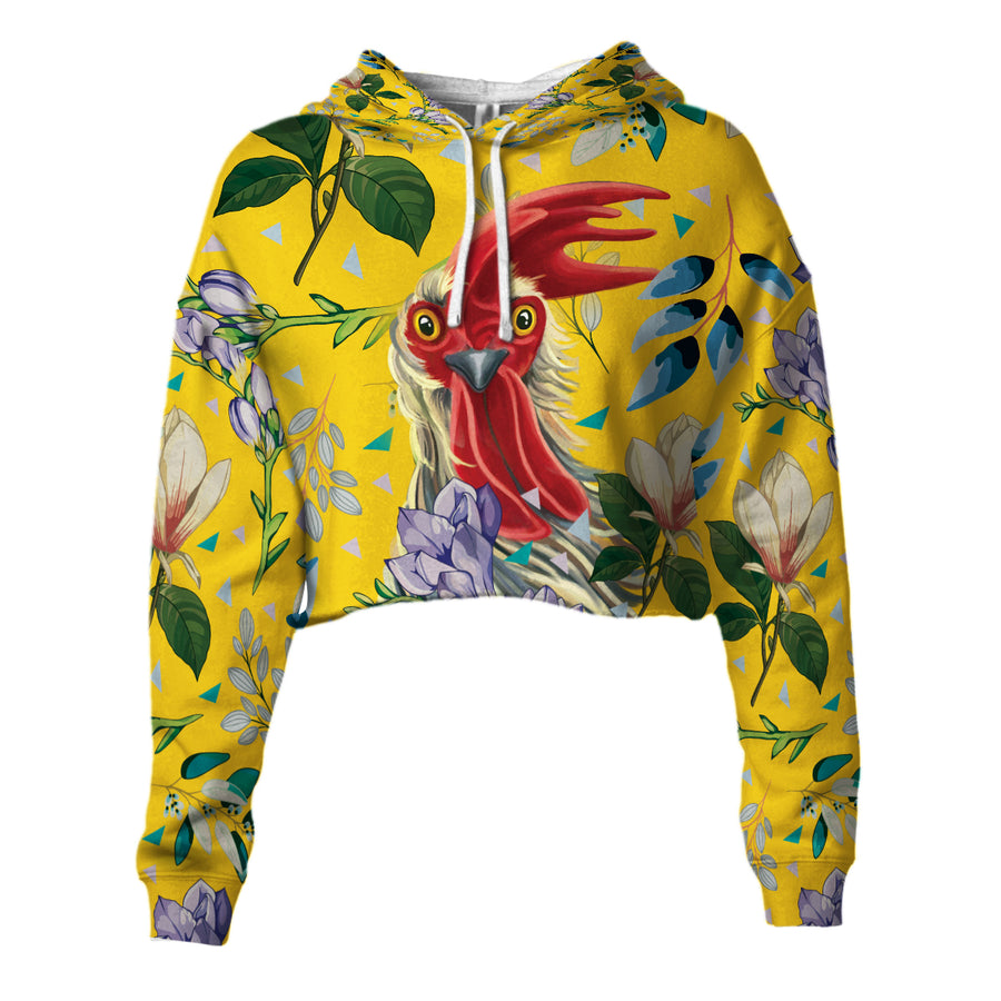 Flower 2 Chicken Cropped Hoodie And Leggings Set