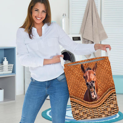 Funny Horse Rattan Pattern 2 Laundry Basket
