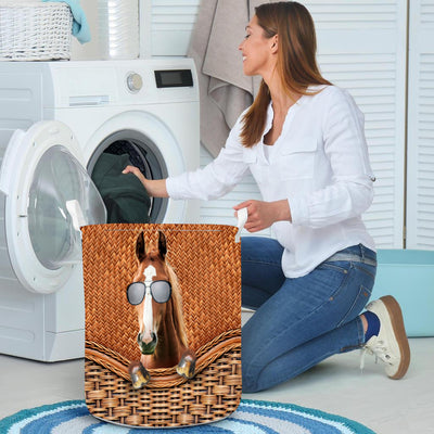 Funny Horse Rattan Pattern Laundry Basket