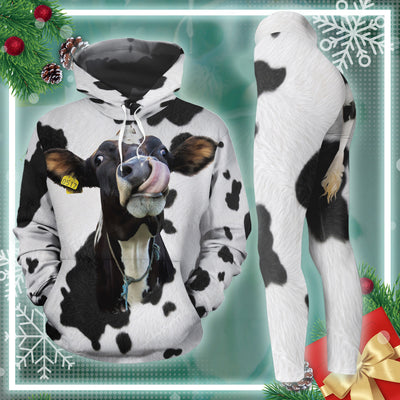 Funny Dairy Cow With Tail All-over Hoodie And Leggings Set