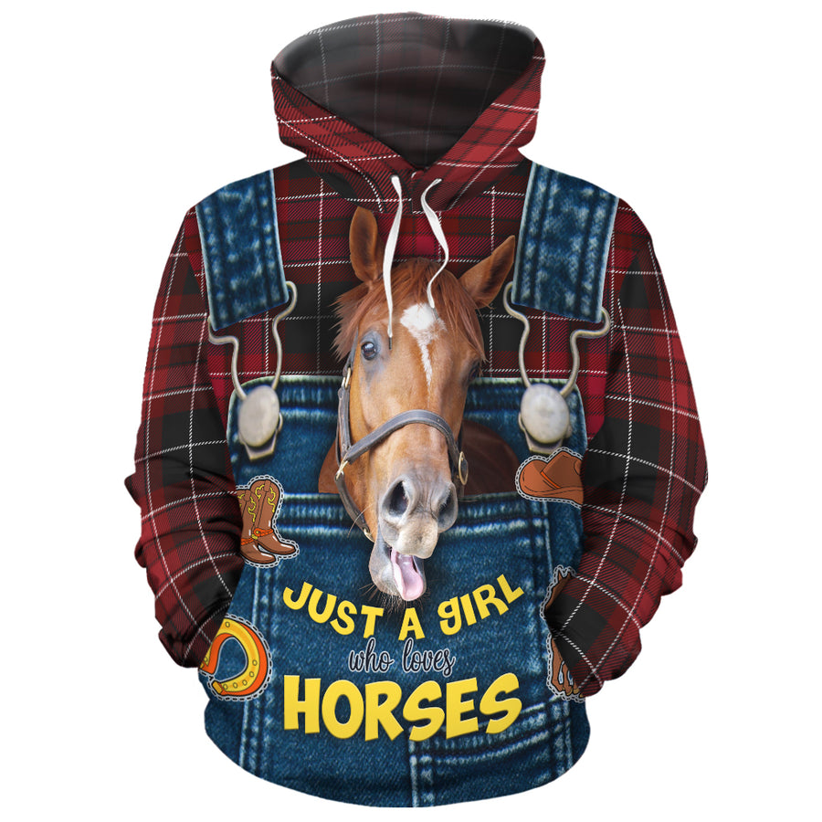 Just A Girl Who Loves Horses Christmas All-over Hoodie