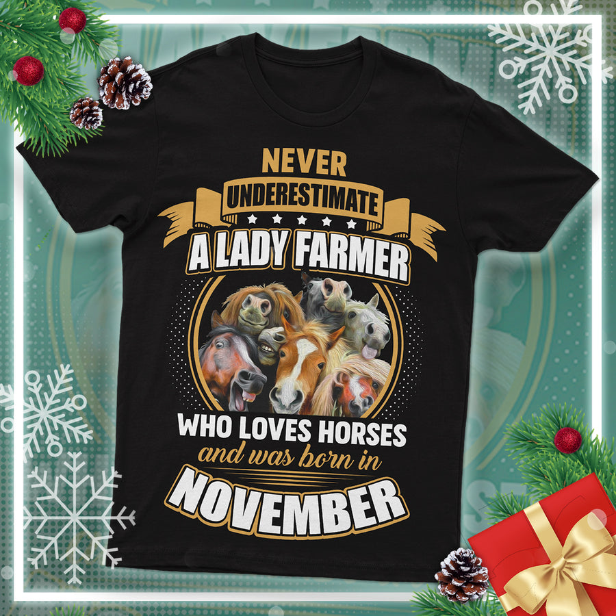 Never Underestimate A Lady Farmer And Was Born In November  Horses T Shirt