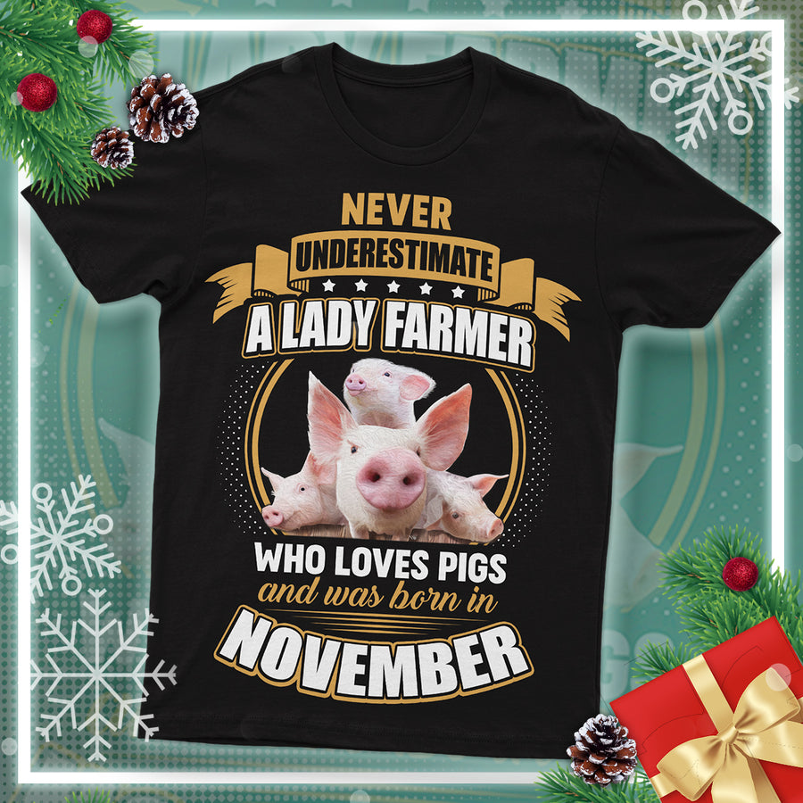 Never Underestimate A Lady Farmer And Was Born In November  Pigs T Shirt